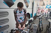 Hubert Dupont (FRA/Ag2r-La Mondiale) mounting the stage info to his stem<br /> <br /> 2014 Giro d'Italia<br /> stage 18: Belluno - Rifugio Panarotta (Valsugana), 171km