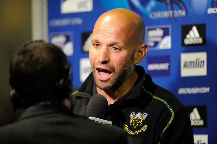 Jim Mallinder, Northampton Saints Director of Rugby, speaks to the media after winning the Amlin Challenge Cup Final during the Amlin Challenge Cup Final match between Bath Rugby and Northampton Saints at Cardiff Arms Park on Friday 23rd May 2014 (Photo by Rob Munro)