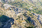 Path along the old fortress walls to castle of St.Johns, Kotor, Montenegro
