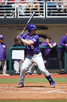 Drew Bianco (5) of the LSU Tigers at bat against the Georgia Bulldogs at Foley Field on March 23, 2019 in Athens, Georgia. The Bulldogs defeated the Tigers 2-0. (Brian Westerholt/Four Seam Images)