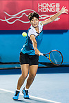 Luksika Kumkhum of Thailand competes against Garbine Muguruza of Spain during the singles quarter final match at the WTA Prudential Hong Kong Tennis Open 2018 at the Victoria Park Tennis Stadium on 12 October 2018 in Hong Kong, Hong Kong.