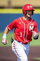Maryland Terrapins outfielder Randy Bednar (3) jogs around the bases after his first inning home run against the Michigan Wolverines on May 23, 2021 in NCAA baseball action at Ray Fisher Stadium in Ann Arbor, Michigan. Maryland beat the Wolverines 7-3. (Andrew Woolley/Four Seam Images)
