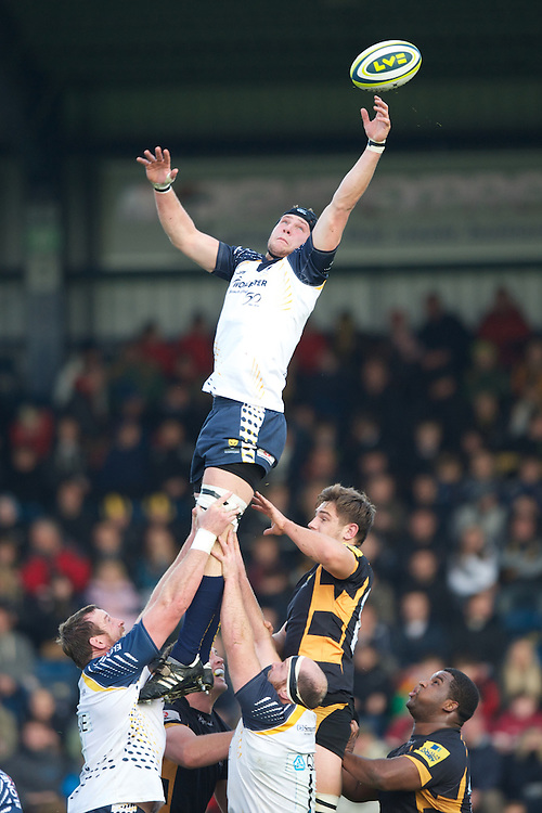 Richard de Carpentier of Worcester Warriors cannot quite reach the lineout ball during the LV= Cup second round match between London Wasps and Worcester Warriors at Adams Park on Sunday 18th November 2012 (Photo by Rob Munro)