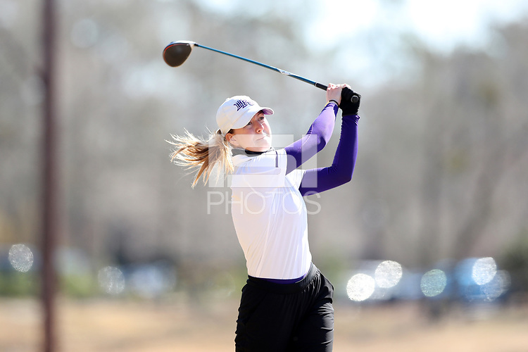 WALLACE, NC - MARCH 09: Ashley Chalmers of High Point University tees off on the 11th hole of the River Course at River Landing Country Club on March 09, 2020 in Wallace, North Carolina.