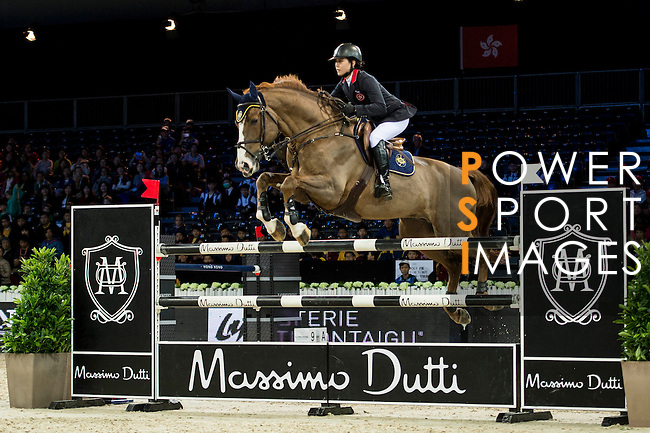 Jacqueline Lai on Basta competes during competition Table A Against the Clock at the Longines Masters of Hong Kong on 19 February 2016 at the Asia World Expo in Hong Kong, China. Photo by Li Man Yuen / Power Sport Images