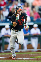 Miami Hurricanes shortstop Brandon Lopez (51) runs to first base against the Florida Gators in the NCAA College World Series on June 13, 2015 at TD Ameritrade Park in Omaha, Nebraska. Florida defeated Miami 15-3. (Andrew Woolley/Four Seam Images)