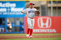 Clearwater Threshers Grenny Cumana throws the ball back to the pitcher during a game against the Dunedin Blue Jays on April 8, 2017 at Florida Auto Exchange Stadium in Dunedin, Florida.  Dunedin defeated Clearwater 12-6.  (Mike Janes/Four Seam Images)
