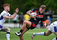 Chris Hankinson (on loan from Wigan) of London Broncos collects and scores his try during the Betfred Championship match between London Broncos and Newcastle Thunder at The Rock, Rosslyn Park, London, England on 9 May 2021. Photo by Liam McAvoy.