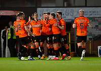 2nd October 2020; Tannadice Park, Dundee, Scotland; Scottish Premiership Football, Dundee United versus Livingston; Nicky Clark of Dundee United is congratulated after scoring for 1-0 in the 17th minute