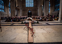 Pictured: Army officials and local dignitaries attend the York Minster service. Sunday 11 November 2018<br /> Re: Commemoration for the 100 years since the end of the First World War on Remembrance Sunday at York Minster, England, UK