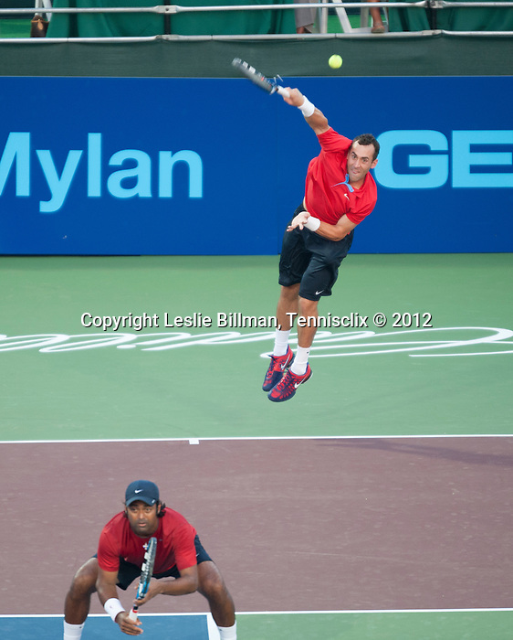 Bobby Reynolds of the Kastles serves at the World Team Tennis match between the Washington Kastles and the Boston Lobsters on July 16, 2012 in Washington, DC.