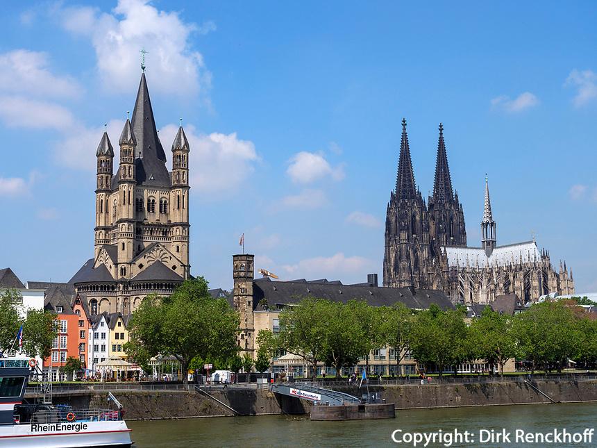 Kirche Groß St. Martin und Dom, Köln, Nordrhein-Westfalen, Deutschland, Europa<br /> church Groß St. Martin andcathedral, Cologne, North Rhine-Westphalian, Germany, Europe