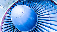 """""""Jet Blue"""" A closeup of a 747 engine, which looked better blue."""