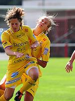 Supercup seizoen 2011 - 2012 ; Kampioen Standard Femina tegen Bekerwinnaar Waasland Beveren Sinaai Girls : Justine Vanhaevermaet en Charlotte Vanwynsberghe.foto DAVID CATRY / Vrouwenteam.be