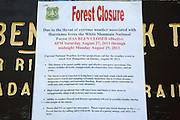 Forest Closure Sign - White Mountain National Forest has been closed effective from 6PM Saturday August 27, 2011 through midnight Monday August 29, 2011 sign in the White Mountain National Forest of New Hampshire USA because of Hurricane Irene