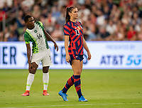 AUSTIN, TX - JUNE 16: Alex Morgan #13 of the USWNT looks to the ball during a game between Nigeria and USWNT at Q2 Stadium on June 16, 2021 in Austin, Texas.