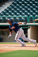 Atlanta Braves Darling Florentino (18) follows through on a swing during a Florida Instructional League game against the Canadian Junior National Team on October 9, 2018 at the ESPN Wide World of Sports Complex in Orlando, Florida.  (Mike Janes/Four Seam Images)