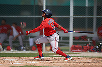 Boston Red Sox Kervin Suarez (16) bats during a Minor League Spring Training game against the Baltimore Orioles on March 20, 2019 at the Buck O'Neil Baseball Complex in Sarasota, Florida.  (Mike Janes/Four Seam Images)