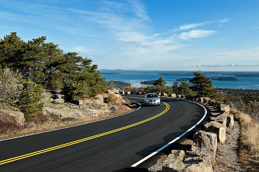 Road leading to the peak of Cadillac Mountain, Acatia National Park, Maine, ME, USA