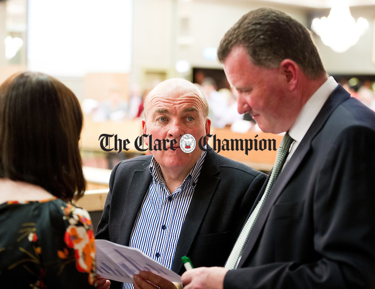 Fianna Fail's Tom Mc Namara and Pat Hayes  during the election count at The West county Hotel, Ennis. Photograph by John Kelly.