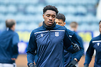 20th February 2021; Dens Park, Dundee, Scotland; Scottish Championship Football, Dundee FC versus Queen of the South; Malachi Fagan-Walcott of Dundee during the warm up before the match