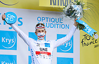 8th July 2021; Nimes, France; POGACAR Tadej (SLO) of UAE TEAM EMIRATES pictured during the podium ceremony during stage 12 of the 108th edition of the 2021 Tour de France cycling race, a stage of 159,4 kms between Saint-Paul-Trois-Chateaux and Nimes.