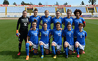 20180302 - LARNACA , CYPRUS : Italian team pictured posing for the teampicture with Chiara Marchitelli (12) , Cristiana Girelli (10) , Elena Linari (5) , Alia Guagni (7) Martina Rosucci (8) , Sara Gama (3) , Barbara Bonansea (18), Minda Tucceri Cimini (14) , Valentina Giacinti (15) , Valentina Bergamaschi (2) and Manuela Giugliano (6) during a women's soccer game between Italy and Wales , on friday 2 March 2018 at GSZ Stadium in Larnaca , Cyprus . This is the second game in group A for Italy and Wales during the Cyprus Womens Cup , a prestigious women soccer tournament as a preparation on the World Cup 2019 qualification duels. PHOTO SPORTPIX.BE | DAVID CATRY