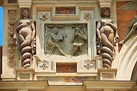 The Organ fountain, 1566, housing organ pipies driven by air from the fountains. Villa d'Este, Tivoli, Italy - Unesco World Heritage Site.