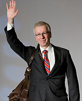 Stephane Dion, Member of Parliament for the Liberal Party of Canada, waves the crowd goodbye at the Federation of Canadian Municipalities (FCM) congress with his famous backpack in Quebec city Sunday June 1, 2008.<br /> <br /> PHOTO :  Francis Vachon - Agence Quebec Presse