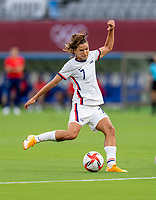 TOKYO, JAPAN - JULY 21: Tobin Heath #7 of the USWNT takes a shot during a game between Sweden and USWNT at Tokyo Stadium on July 21, 2021 in Tokyo, Japan.