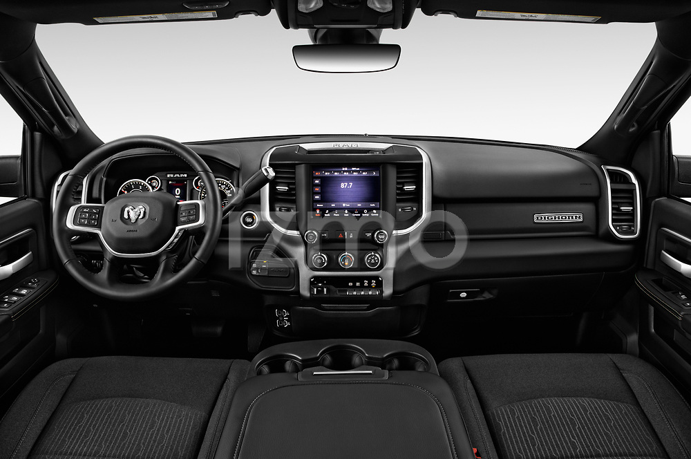 Stock photo of straight dashboard view of a 2019 Ram 3500 Big Horn 4 Door Pick Up