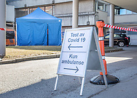 Drive in test at a hospital. Norwegian authorites introduced measures to combat the Coronavirus (COVID-19).<br />