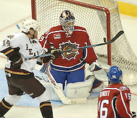 The Hershey Bears left winger Tomas Fleischmann (14) tries to tip the puck past  Hamilton Bulldogs goalie Carey Price (29) in the third period of game one in the AHL Calder Cup playoffs Friday, June 1, 2007 in Hershey, Pa. (AP Photo/Bradley C Bower)