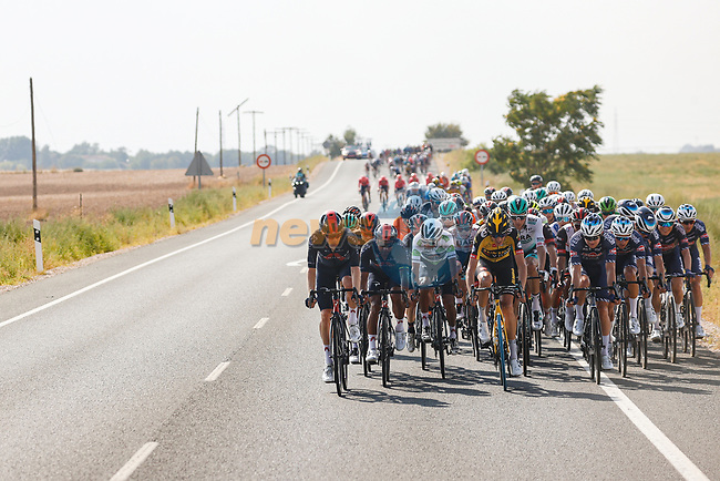 The peloton split to pieces after a huge crash during Stage 5 of La Vuelta d'Espana 2021, running 184.4km from Tarancón to Albacete, Spain. 18th August 2021.    <br /> Picture: Luis Angel Gomez/Photogomezsport | Cyclefile<br /> <br /> All photos usage must carry mandatory copyright credit (© Cyclefile | Luis Angel Gomez/Photogomezsport)