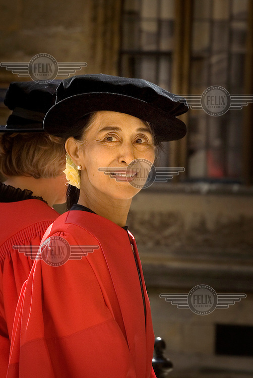 Daw Aung San Suu Kyi, Chairperson of the Burmese National League for Democracy (NLD) arrives at the Bodlian Library in the University of Oxford where she was due to receive an honorary degree.