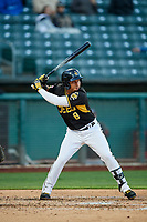 Wilfredo Tovar (8) of the Salt Lake Bees bats against the Sacramento River Cats at Smith's Ballpark on April 12, 2019 in Salt Lake City, Utah. The River Cats defeated the Bees 4-2. (Stephen Smith/Four Seam Images)