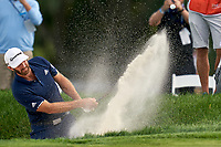 30th August 2020, Olympia Fields, Illinois, USA; Dustin Johnson of the United States plays the ball out of a bunker on the eighth hole during the final round of the BMW Championship on the (North) Course at Olympia Fields Country Club