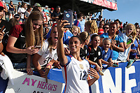 Cary, NC - Sunday October 22, 2017: Lynn Williams takes a selfie with fans after an International friendly match between the Women's National teams of the United States (USA) and South Korea (KOR) at Sahlen's Stadium at WakeMed Soccer Park. The U.S. won the game 6-0.