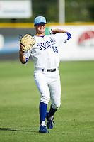 Burlington Royals starting pitcher Foster Griffin (55) warms up in the outfield prior to the game against the Greeneville Astros at Burlington Athletic Park on June 29, 2014 in Burlington, North Carolina.  The Royals defeated the Astros 11-0. (Brian Westerholt/Four Seam Images)