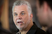 Quebec premier Philippe Couillard answers questions from the medias after a visit of the Hotel-Musee in Wendake, a Huron reserve enclave within Quebec City, Thursday July 17, 2014.<br /> <br /> PHOTO :  Francis Vachon - Agence Quebec Presse