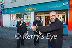 Jim Healy manager of Whyte's Centra CAStsleisland celebrates winning the winning Lotto ticket with Shirley Teahan and Linda Lyons on Wednesday