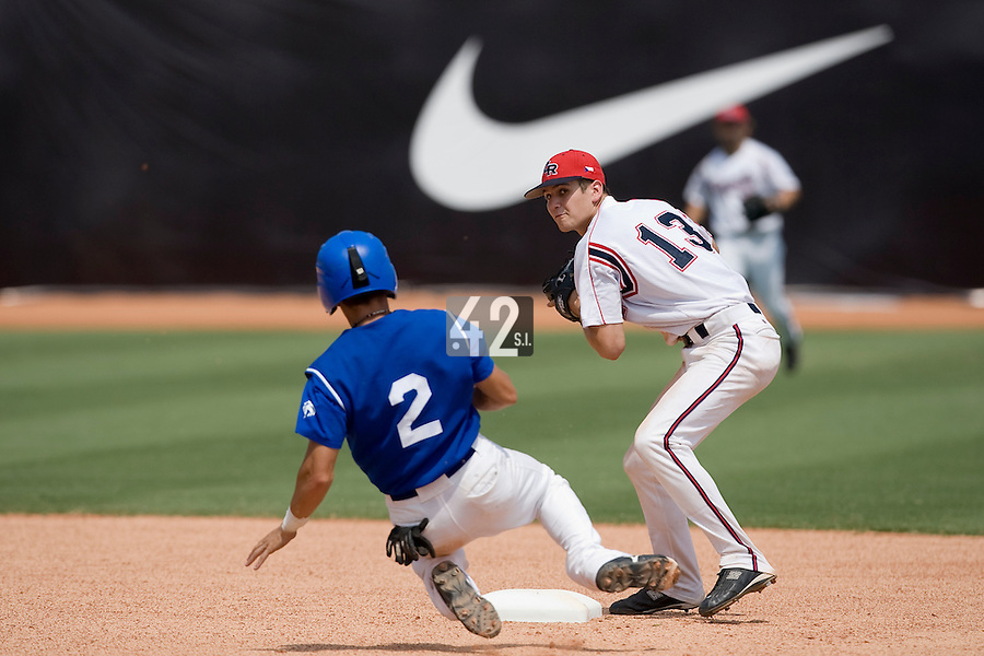 23 August 2007: #2 Sebastien Herve tries to steal second base as #13 Martin Schneider throws to first base during the France 8-4 victory over Czech Republic in the Good Luck Beijing International baseball tournament (olympic test event) at the Wukesong Baseball Field in Beijing, China.