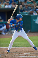 Niko Hulsizer (12) of the Ogden Raptors bats against the Idaho Falls Chukars at Lindquist Field on July 29, 2018 in Ogden, Utah. The Raptors defeated the Chukars 20-19. (Stephen Smith/Four Seam Images)