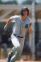 GCL Tigers West center fielder Parker Meadows (14) runs to first base during a game against the GCL Tigers East on August 8, 2018 at Tigertown in Lakeland, Florida.  GCL Tigers East defeated GCL Tigers West 3-1.  (Mike Janes/Four Seam Images)