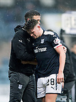 Dundee v St Johnstone…10.03.18…  Dens Park    SPFL<br />Lewis Spence goes off injured in floods of tears, consoled by Graham Gartland<br />Picture by Graeme Hart. <br />Copyright Perthshire Picture Agency<br />Tel: 01738 623350  Mobile: 07990 594431
