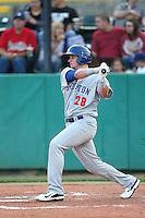 Daniel Robertson #28 of the Stockton Ports bats against the Visalia Rawhide at Rawhide Ballpark on May 5, 2014 in Visalia California. Visalia defeated Stockton, 8-6. (Larry Goren/Four Seam Images)
