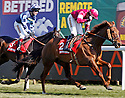 FIRST LIEUTENANT (Bryan Cooper) beats MENORAH in The Betfred Bowl, Aintree Racecourse, Aintree, Merseyside, England. April 4, 2013. Photo by i-Images/DyD Fotografos