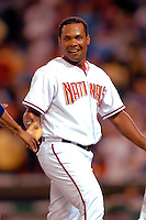3 September 2005: Jose Guillen, outfielder for the Washington Nationals, gets a run during a game against the Philadelphia Phillies. The Nationals defeated the Phillies 5-4 at RFK Stadium in Washington, DC. <br />