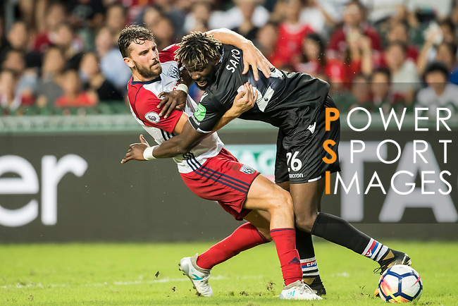 Crystal Palace midfielder Bakary Sako (R) competes for the ball with West Bromwich Albion forward Jay Rodriguez (L) during the Premier League Asia Trophy match between West Bromwich Albion and Crystal Palace at Hong Kong Stadium on 22 July 2017, in Hong Kong, China. Photo by Weixiang Lim / Power Sport Images