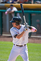 Alex Yarbrough (9) of the Salt Lake Bees at bat against the Reno Aces in Pacific Coast League action at Smith's Ballpark on May 10, 2015 in Salt Lake City, Utah.  Reno defeated Salt Lake 11-2 in Game Two of the double-header. (Stephen Smith/Four Seam Images)